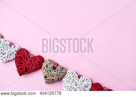 Valentine Hearts On Pink Background With Copy Space. Symbols Of Love In Shape Of Heart For Happy Val