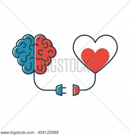 Brains And Heart Are Connected. Heart And Brain Work Together. Blackline Design. Connection Of Mind