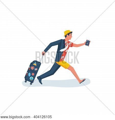 Go On Vacation. The Manager Runs From The Office To The Beach To Relax. Dressing Up On The Run. Goin