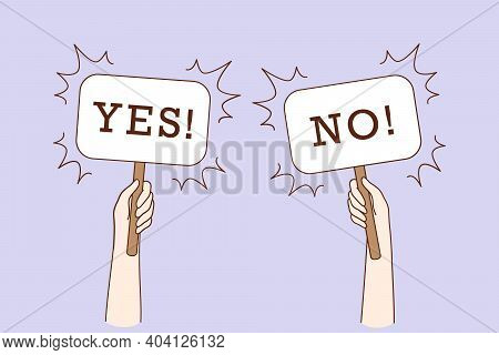 Dilemma, Dispute, Choice Hesitation Concept. Human Hands Holding Yes No Banners Meaning Test Questio