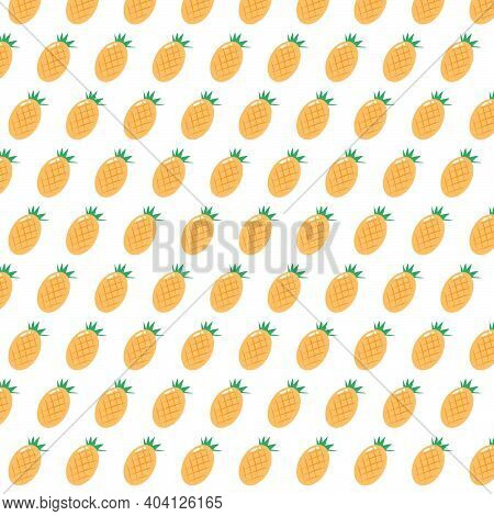 Abstract Vector Illustration Pineapple Seamless, Fruit Background With Colorful Pineapple
