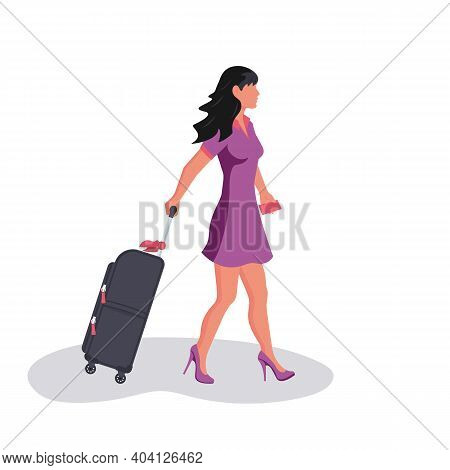 Woman With Travel Suitcase. Female With A Luggage Bag. Beautiful And Attractive Young Girl In A Dres