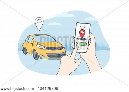 Car Sharing And Online Application Concept. Human Hands Holding Smartphone With Application Of Auton