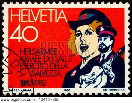 Moscow, Russia - January 15, 2021: Stamp Printed In Switzerland Shows Salvation Army Band, Series 10