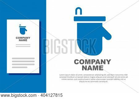 Blue Sauna Mittens Icon Isolated On White Background. Mitten For Spa. Logo Design Template Element.
