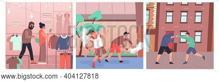Hooliganism Flat Compositions Set With Pocket Thief And Fighting Hooligans Isolated Vector Illustrat