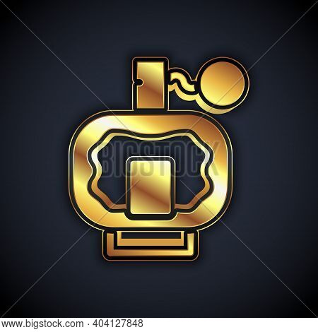Gold Aftershave Icon Isolated On Black Background. Cologne Spray Icon. Male Perfume Bottle. Vector