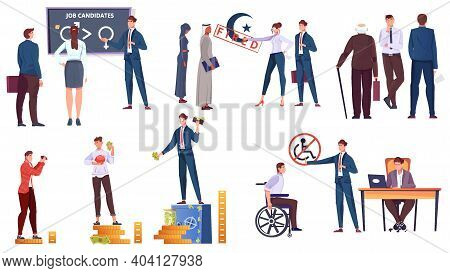 Social Religion And Income Inequality Icons Set With Human Characters Isolated Vector Illustration