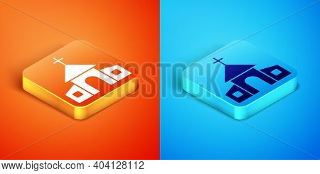Isometric Church Building Icon Isolated On Orange And Blue Background. Christian Church. Religion Of