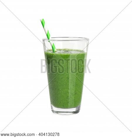 Green Juice And Straw In Glass Isolated On White