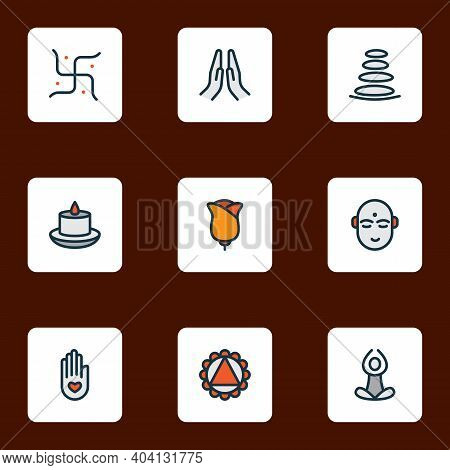 Spiritual Icons Colored Line Set With Prayer, Flower, Yoga And Other Character Elements. Isolated Ve