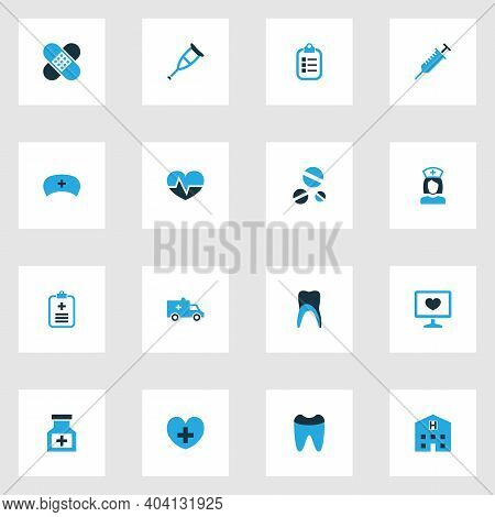 Medicine Icons Colored Set With Building, Remedy, Drug And Other Form Elements. Isolated Vector Illu