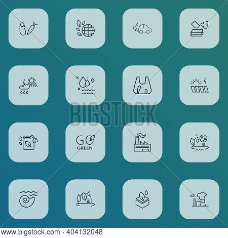 Environment Icons Line Style Set With Solar Energy Power, Eco Packaging, Weather And Other Air Pollu