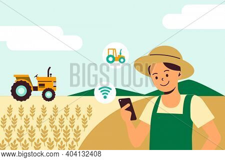 Smart farming sensor system digital agricultural technology illustration