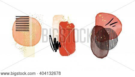 Aquarelle Classic Shapes. Red Contrast Vector Scandinavian Decorative Cover Stain Painting, Watercol