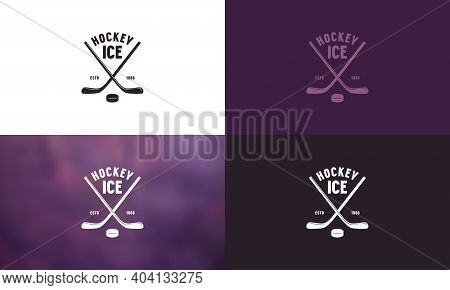 Emblem For Ice Hockey Championship. Color Variation. Logo With Crossed Hockey Sticks