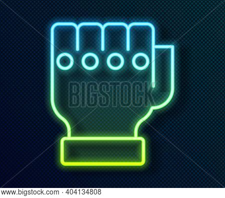 Glowing Neon Line Mma Glove Icon Isolated On Black Background. Sports Accessory Fighters. Warrior Gl