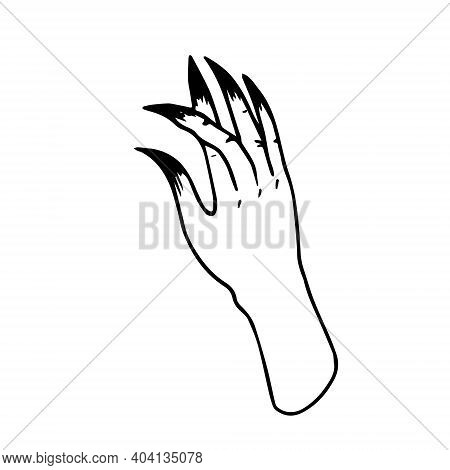 Witchs Hand With Crossed Fingers. Witchcraft Damage Evil Eye. Gothic Scary Clip Art For Halloween. H