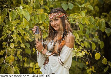 Gypsy Woman Predict Future, Boho Mystical Style. Gypsy Lady With A Magical Stuff, Esoteric And Magic