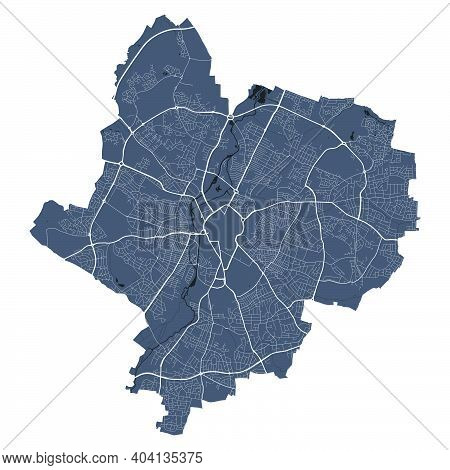 Leicester Map. Detailed Vector Map Of Leicester City Administrative Area. Cityscape Poster Metropoli