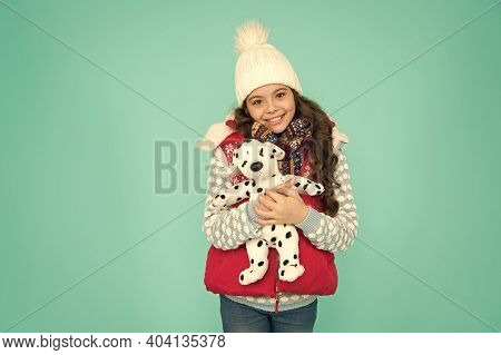 Dreaming About Real Dog. Kids Toy Shop Or Store. Winter Style. Childhood Fun. Lovely Baby Smiling Fa