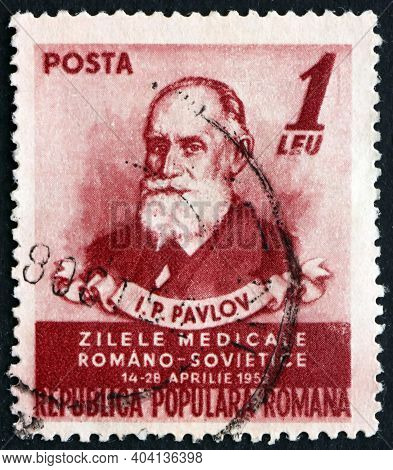Romania - Circa 1952: A Stamp Printed In Romania Shows Ivan Petrovich Pavlov, Russian Physiologist K