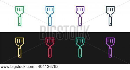 Set Line Spatula Icon Isolated On Black And White Background. Kitchen Spatula Icon. Bbq Spatula Sign