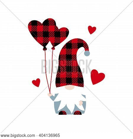Vector Illustration Of Cute Buffalo Plaid Scandinavian Gnome With Hearts Balloons Isolated On White