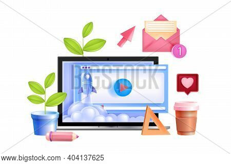 Online Education, School, University Vector Training Concept With Laptop Screen, Rocket Launch, Emai