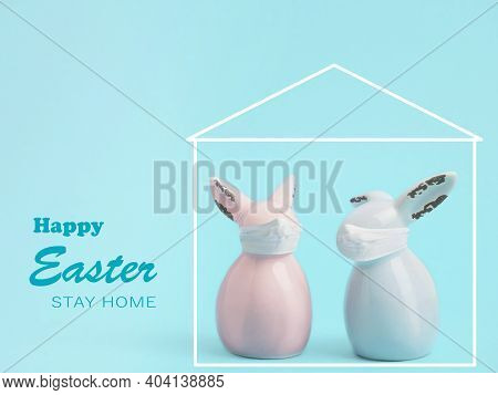 Happy Easter 2021. Coronavirus Protection Concept For The Easter Holidays. Easter Rabbits With A Pro