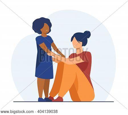 Woman Examining Scrapes On Kid. Black Adopted Child, Hurt, Trauma. Flat Vector Illustration. Family,