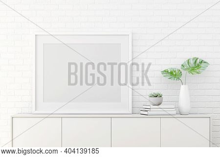 3d Rendering Of Mock Up Interior Design For Living Room With Picture Frame On White Wall