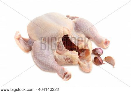 Fresh Raw Chicken Or Broiler Chicken. Isolated On A White Background. Clipping Path.