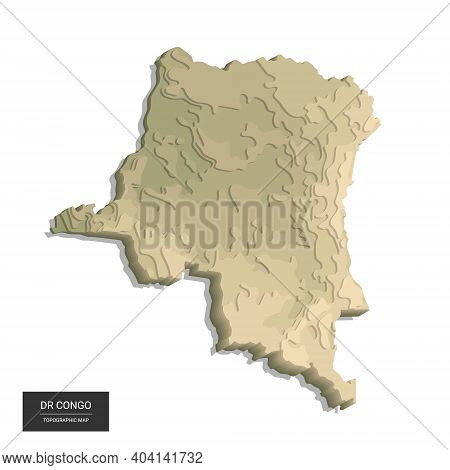 Dr Congo Map - 3d Digital High-altitude Topographic Map. 3d Vector Illustration. Colored Relief, Rug