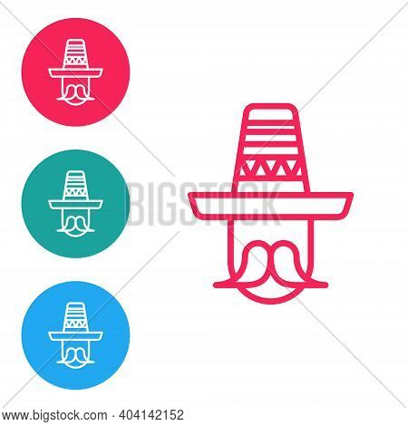 Red Line Mexican Man Wearing Sombrero Icon Isolated On White Background. Hispanic Man With A Mustach