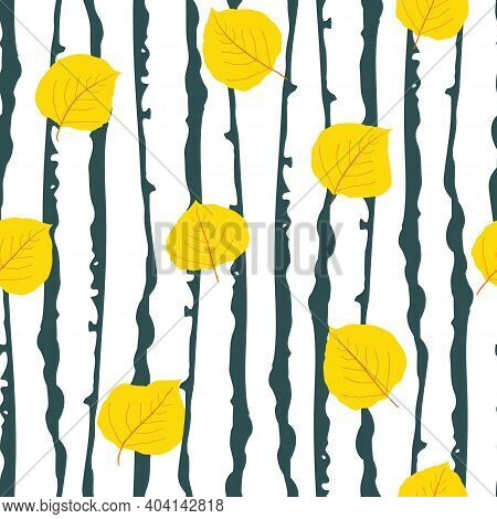 Yellow Aspen Leaf Forest Seamless Vector Pattern Background. Beautiful Hand Drawn Leaves In Fall Col