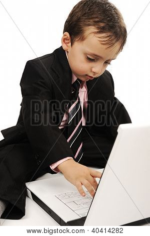 Business kid wearing suit with laptop