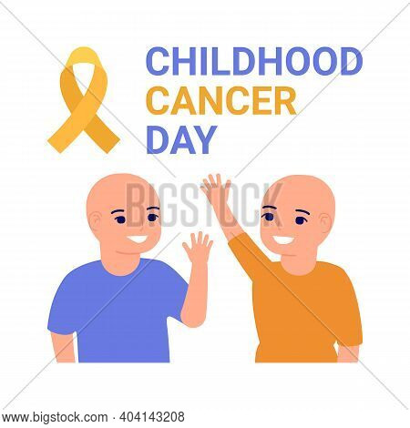 International Childhood Cancer Day Poster. Help And Support For Children With Cancer. Yellow Ribbon