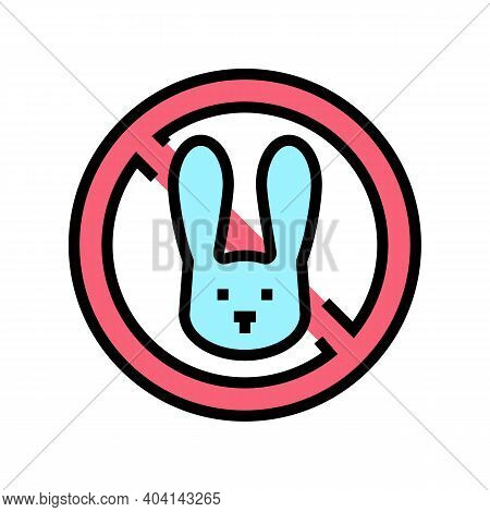 Stop Kill Rabbits Color Icon Vector. Stop Kill Rabbits Sign. Isolated Symbol Illustration