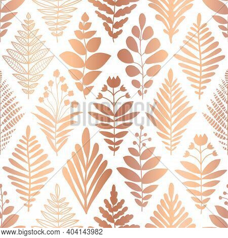 Metallic Copper Foil Floral Seamless Pattern. Repeating Vector Background Rose Gold Flowers On White