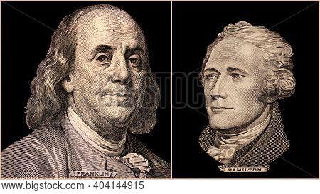 Portrait Of U.s. Presidents Benjamin Franklin And Alexander Hamilton