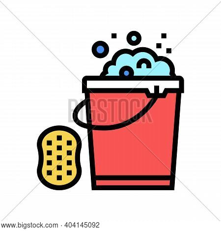 Sponge And Bucket With Water Color Icon Vector. Sponge And Bucket With Water Sign. Isolated Symbol I