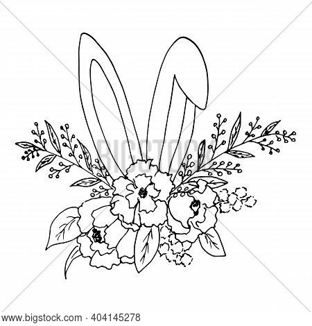 Sketch Of An Easter Bouquet Of Flowers And Leaves With Protruding Ears Of A Bunny. Vector Illustrati