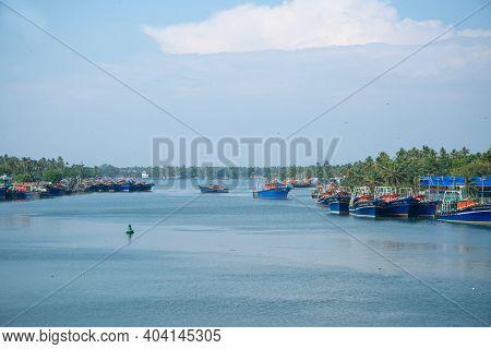 Kerala, India - 15 January 2021: Beautiful Munabam Fishing Harbour , Kerala India