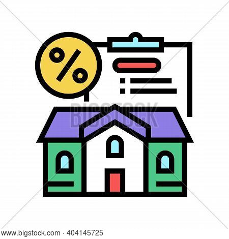 Mortgage For Buy House Color Icon Vector. Mortgage For Buy House Sign. Isolated Symbol Illustration