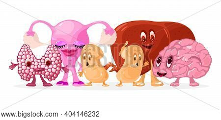 Funny Collection Of Anatomical Characters With Emotions, Hands And Legs. Vector Brain, Liver, Kidney