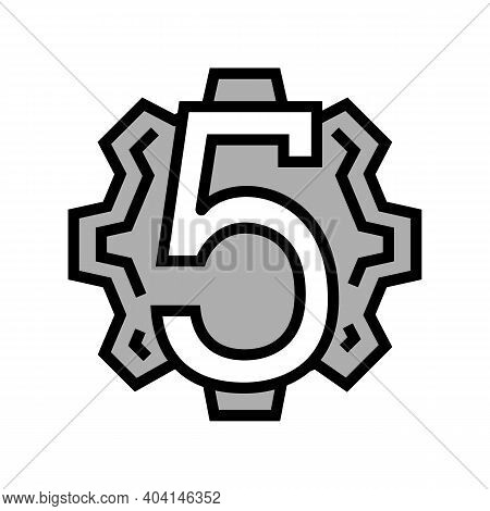 Fifth Number Color Icon Vector. Fifth Number Sign. Isolated Symbol Illustration