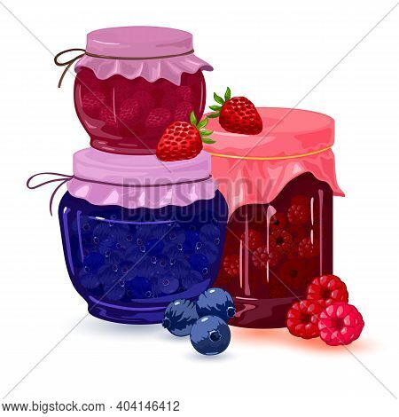 Collection Of Fresh Homemade Strawberry, Blueberry And Raspberry Jelly Canned In Jars. Vector Dietar