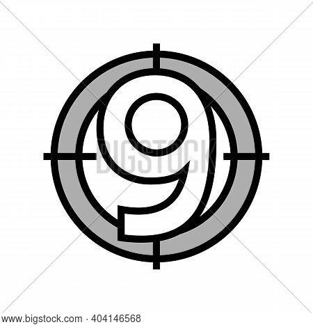 Nine Number Color Icon Vector. Nine Number Sign. Isolated Symbol Illustration