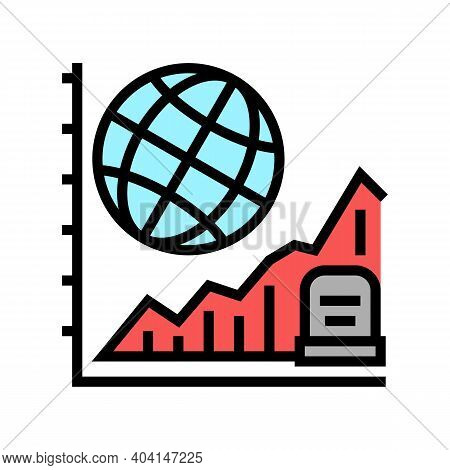 Starving, Increase Mortality Poverty Problem Color Icon Vector. Starving, Increase Mortality Poverty